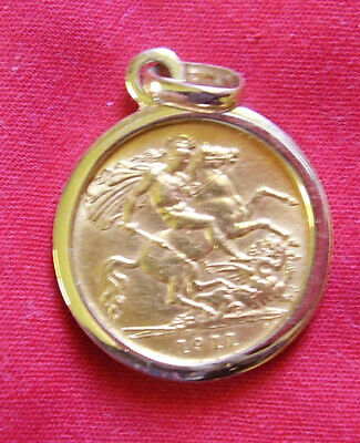 Gold Half Sovereign In 9Ct Pendant