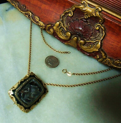 Antique Victorian 12K Gold 10k Mourning Very Heavy Pendant Pin Rare Necklace
