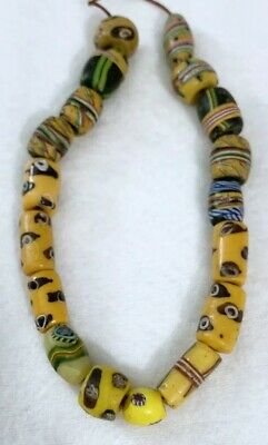 Venetian Antique Wound Glass African Trade Beads Millefiori Banded Rare ~ Estate
