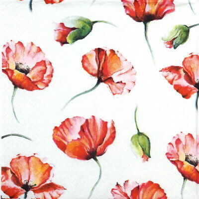 4x Paper Napkins for Party, Decoupage Craft -  Poppy Drawing