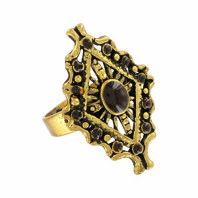 Antiqued Gold Tone Brown Enamel Revival Style Cocktail Ring