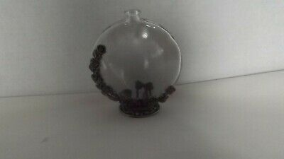 Antique/vintage Perfume Bottle Clear Glass With Pewter Embossed Flowers