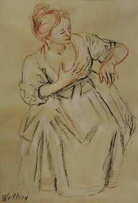 Fine art, French Baroque Rococo Old Master drawing, Portrait study, Signed