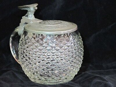 Antique 1/2L Mold Blown Hobnail Glass German Beer Stein w/ Eagle Thumblift 1860