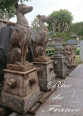 Vintage  Cast Stone Garden Dog Greyhound Statues On Bulldog Bases