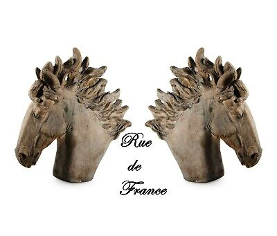 Vintage  Cast Stone Horse Head Statue -- Horse Head  Bust Statue