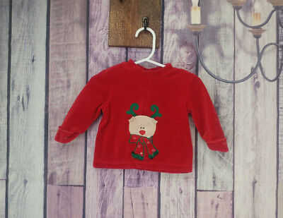 Boys 0-3 month red reindeer long sleeve shirt miniwear holiday christmas B17