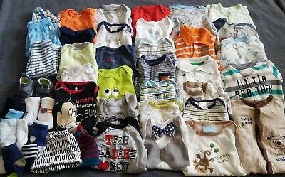 HUGE 46 Piece Lot Of Clothing Baby Boy's Size 0-3 Months Winnie The Pooh Mickey