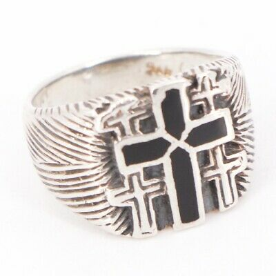 VTG Sterling Silver - Enamel Etched Cross Religious Signet Ring Size 6.5 - 5.5g
