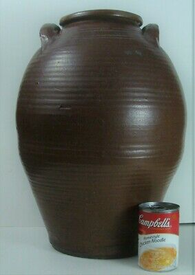 Large Antique Handmade Southern US Redware Oil Jar Crock Great Country Stoneware