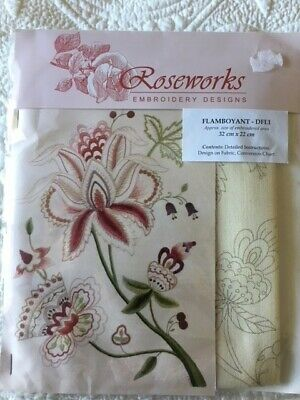 Crewel work embroidery pattern pack *Flamboyant* by Roseworks printed fabric