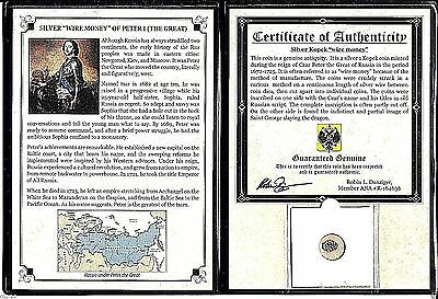 """'Russian Silver """"Wire Money"""" Of Peter I (The Great),Album,Certificate,1662-1725"""