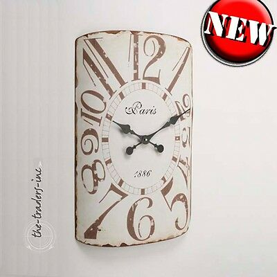 Vintage French Shabby Chic Distressed Metal Cream Wall Clock  - BNIB