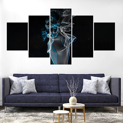 Abstract Blue White Smoke Canva Print Painting Home Deco Wall Art Picture Poster