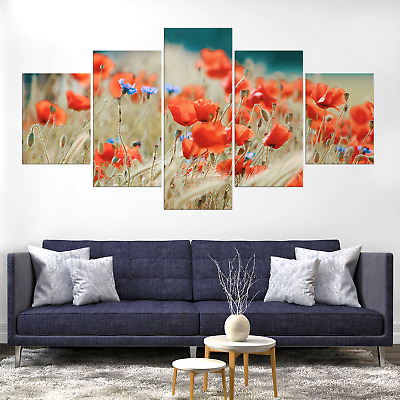 Beautiful Red Poppy flower Field Canva Print Painting Home Deco Wall Art Picture