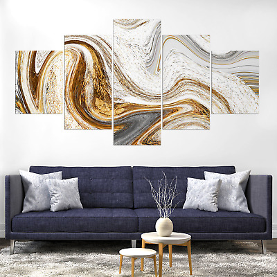Undulating Abstract Canvas Print Painting Framed Home Decor Wall Art Picture Pic