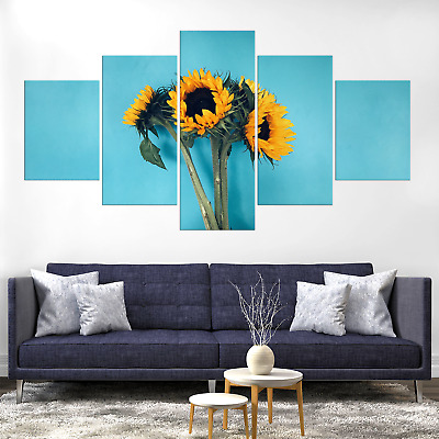 Sunflower Bouquet Canva Print Painting Framed Home Decor Wall Art Picture Poster