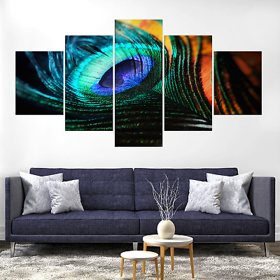 Peacock Peafowl Feather Abstract Canva Print Painting Home Deco Wall Art Picture