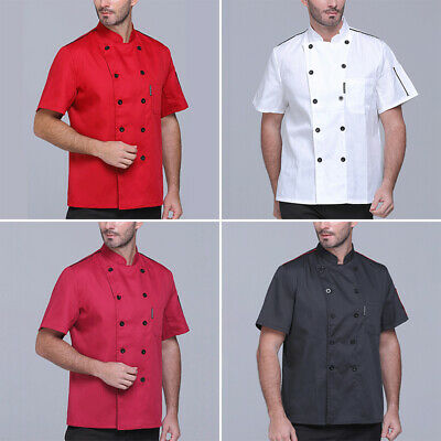 Mens Tops Shirts Short Sleeve Fashion Tops Stand Collar Shirts Chefs Solid Cook