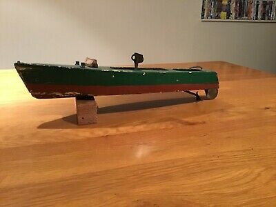 antique wooden model meccano motor boat with key