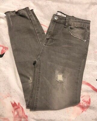 Denim Co Girls Distressed Grey Skinny Jeans, Age 10-11 Years - Lovely!