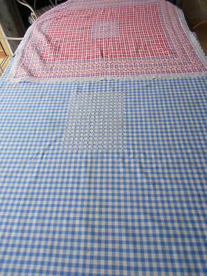 2 Vintage Supper Cloths, Blue/White Gingham, Red/White Check