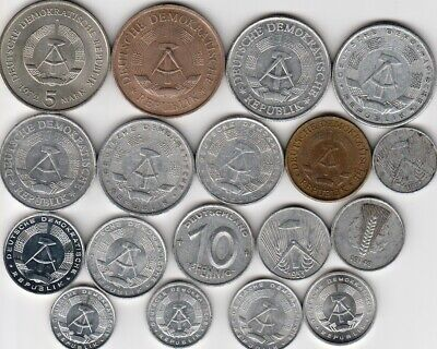 18 different world coins from EAST GERMANY