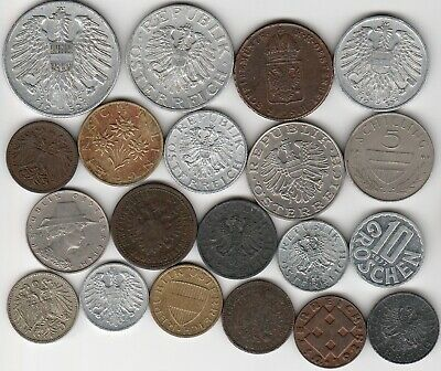 20 different world coins from AUSTRIA some scarce