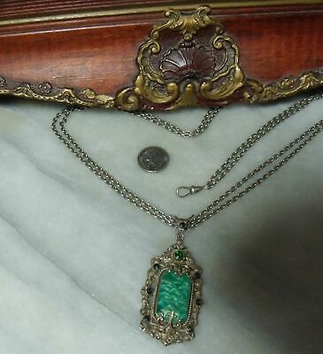 Antique Victorian Sterling Silver Heavy Very Rare Peking Glass Necklace