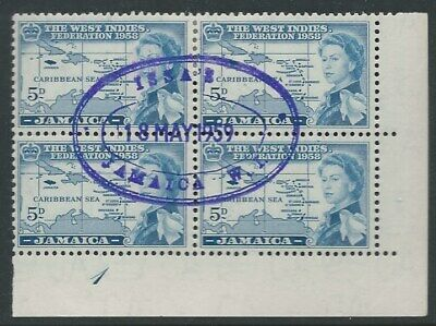 JAMAICA: 1958 Federation 5d blk 4 with nice cancel ( 2 scans ).