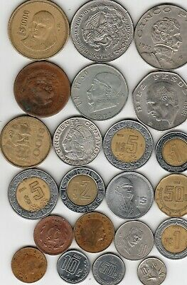 22 different world coins from MEXICO