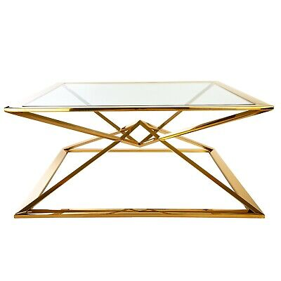 Seconds - Stainless Steel Brass Plated Coffee Table Glass SRP1500