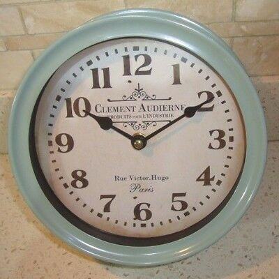 Vintage Shabby Chic Style - Duck Egg Blue - Deep Metal Clock - Clement Audierne