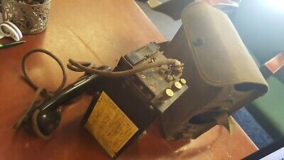 Antique WWII Signal Corps US Army Telephone EE-8-B Field Phone with  Case