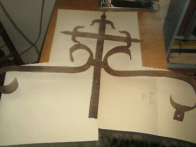 Original Wrought Iron Colonial Catholic Cross Fleur De Lis French New Orleans