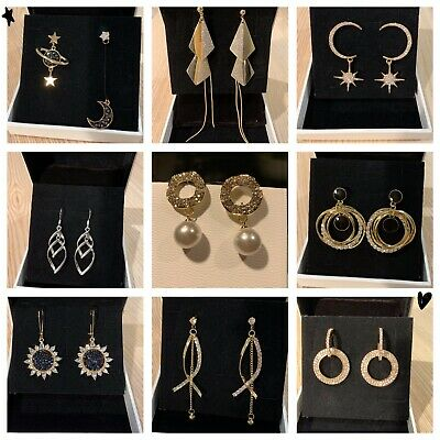 Fashion Womens Girl 925 Sterling Silver Crystal Drop Earrings Party Gifts Cute