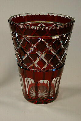 """Imperlux Vintage Bohemian Cut To Clear Glass Crystal Ruby Red 8"""" Vase!"""