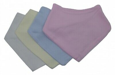 Bandana bib in pale pink, pale blue, navy blue cream and white