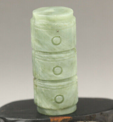 Chinese old natural jade hand-carved yu cong pendant