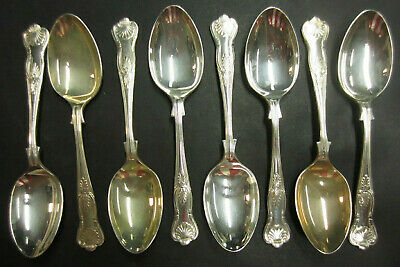 Vintage Set Of 8 Silver Plated Kings Pattern Dessert Spoons - Epns A1 Sheffield