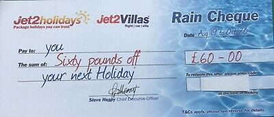 Jet2 Holidays £60Rain Cheque voucher valid for holidays August 19 to Oct 20