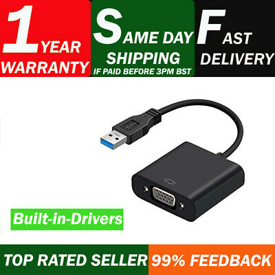 USB 3.0 to VGA Video Adapter Cable Converter 1080p For PC Laptop Windows 7/8/10