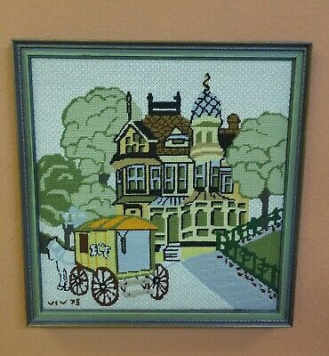Vintage Victorian Country Home House Needlepoint Ice Wagon Completed Framed