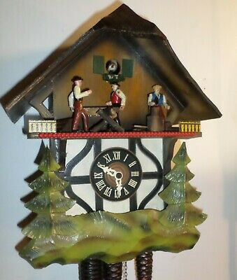Nice Old German Black Forest Music Animated 2 Man Sawyer Chalet Cuckoo Clock!