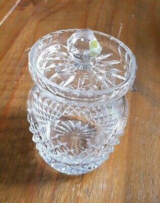 vintage / antique cut glass preserve pot / jar, jam, marmalade, mustard