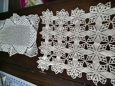 "LOT 2 Vintage HAND Crocheted Doily DOILIES RECTANGLES 12 X 17"" CREAM COLOR"