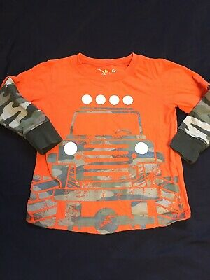 EUC Toddler Boy Jumping Beans Layered Look Orange Camo Jeep Graphic Sz 3T