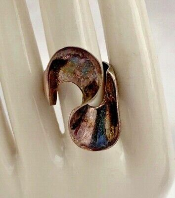 Vintage Mid Century Taxco Mexico 925 Sterling Modernist Large Statement Ring