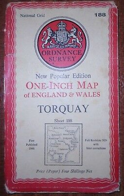 Old Vintage 1946 OS Ordnance Survey One-Inch Map 188 Torquay