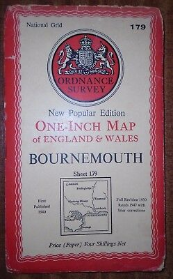 Old Vintage 1940 OS Ordnance Survey One-Inch Map 179 Bournemouth